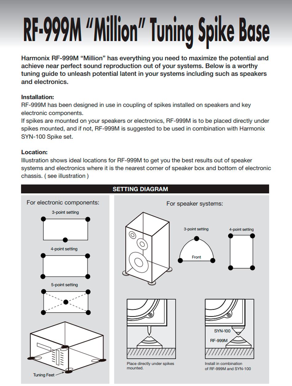 Harmonix RF-999M placement instructions 1